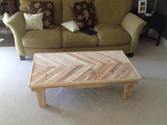 chevron style diy coffee table made from old pallets
